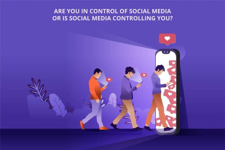 Transformed Spaces, Social Media, Detox, Spaces International, Graphic with people walking into a phone like zombies, Title of the article - Aare you in control of social media or is social media in control of you